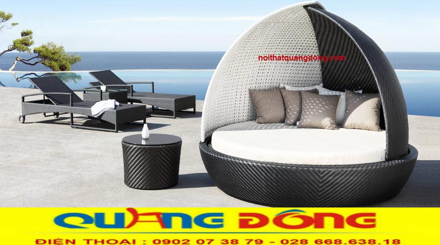 Mẫu giường nằm hồ bơi đẹp độc lạ sản phẩm thư giãn tắm nắng, góp phần trang trí cho ngoại thất sân vườn khu vực bể bơi