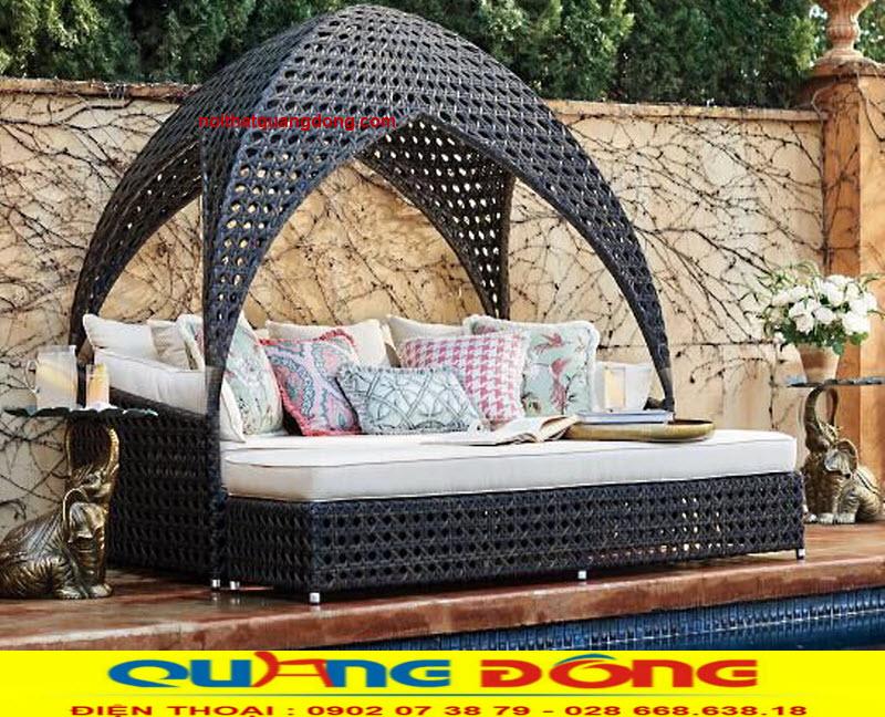 Giường nằm hồ bơi thiết kế dạng mái vòm độc lạ, Mẫu giường tắm nắng QD-525