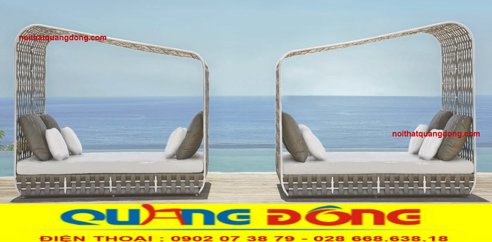 Mẫu ghế nằm hồ bơi giả mây đẹp giường tắm nắng QD-529