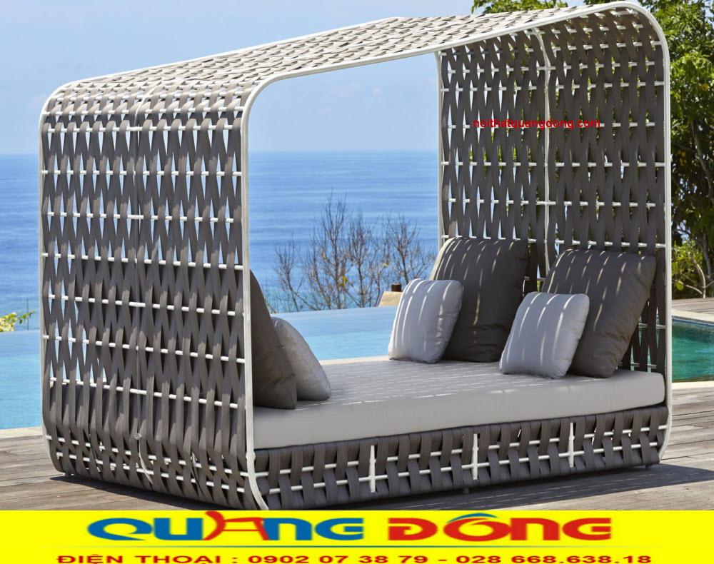Giường tắm nắng QD-529 mẫu giường nằm hồ bơi giả mây đẹp lạ