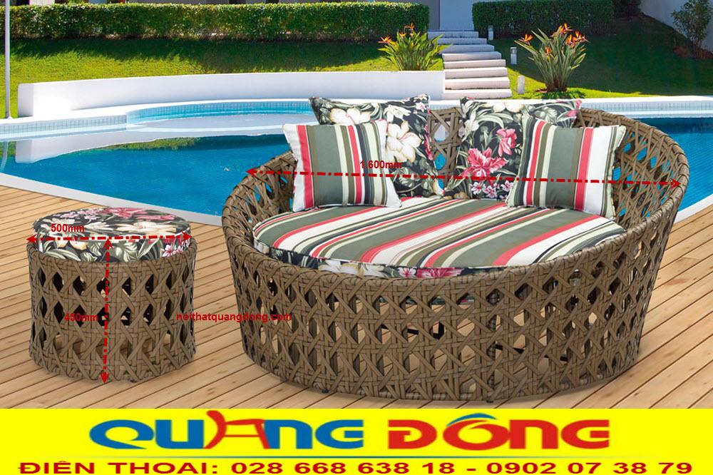 Giường tắm nắng QD-531 làm bằng sợi nhựa giả mây cao cấp, có chất kháng UV tua cực tím kháng muối biển
