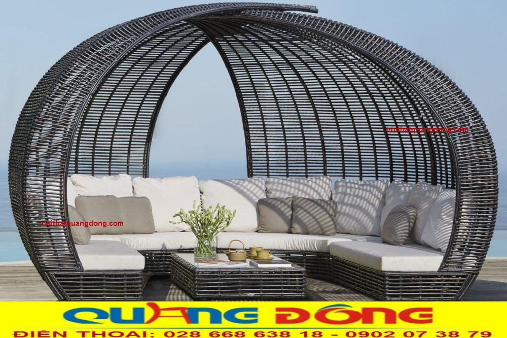 Mẫu bàn ghế ngoài trời bằng nhựa giả mây, giường tắm nắng QD-532 gam màu đen