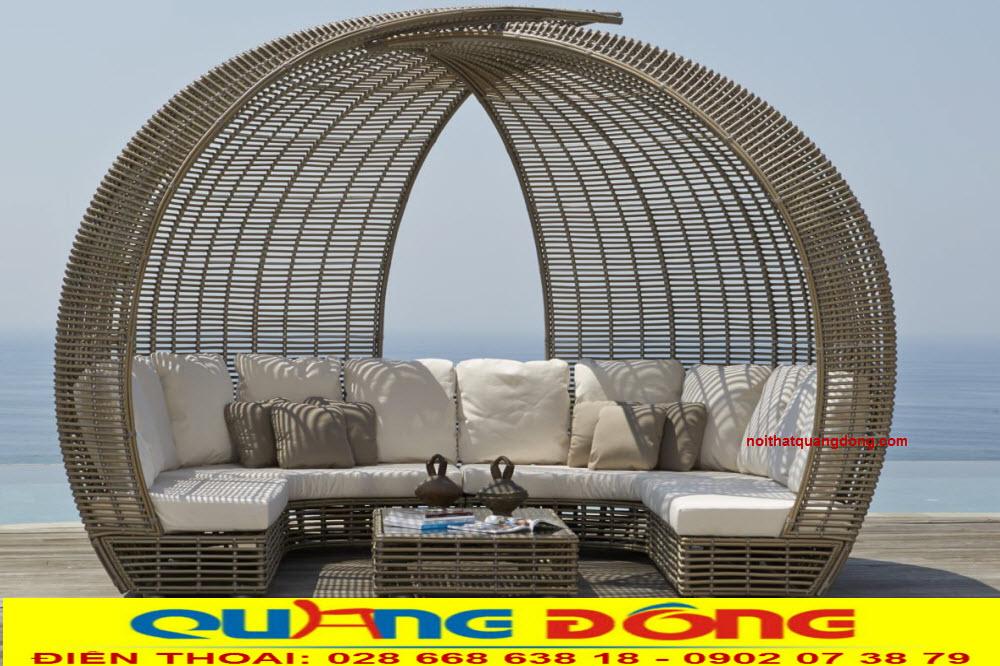 Mẫu giường nàm hồ bơi có mái vòm độc lạ, giường tắm nắng QD-532
