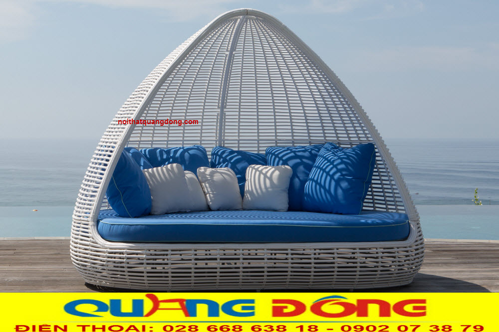 Giường tắm nắng giả mây, thiết kế độc lạ chuyên dùng cho bể bơi khách sạn khu resort