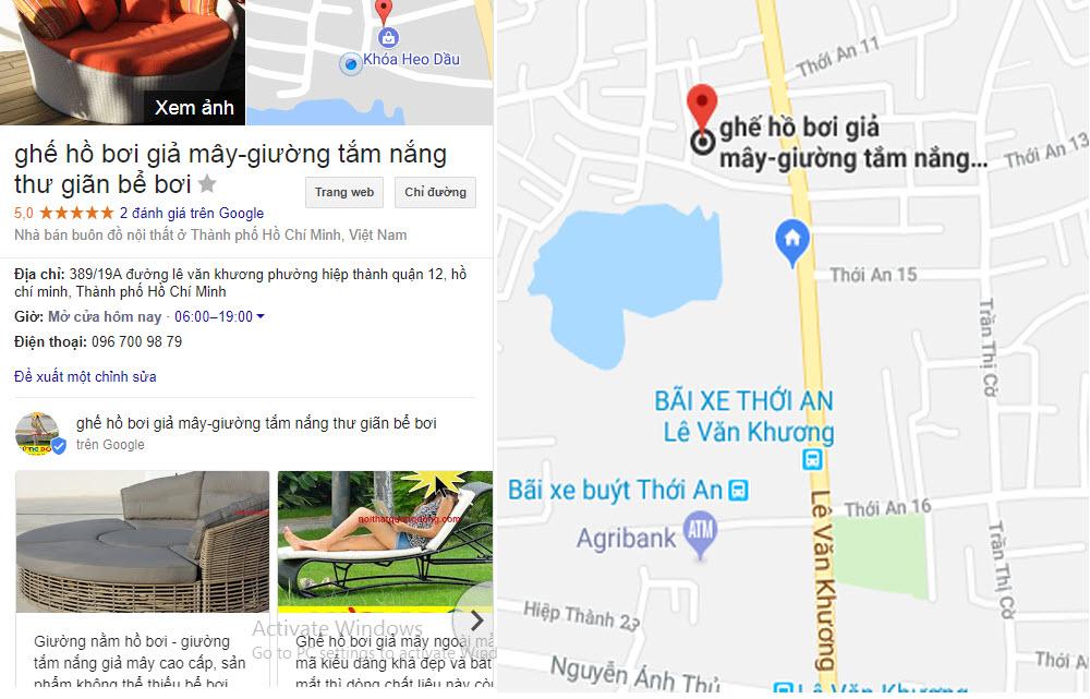 Địa chỉ Công Ty TNHH Nội Thất Quang Đông Trên google maps , để bạn tới mua giường tắm nắng với giá gốc tại xưởng