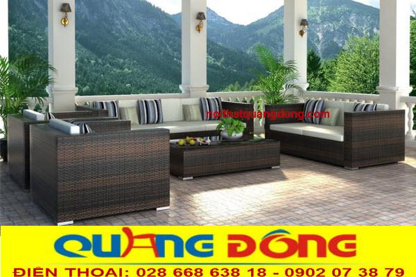 Sang trọng và đẳng cấp cho không gian ngoại thất sân vườn với bộ sofa giả mây QD-108