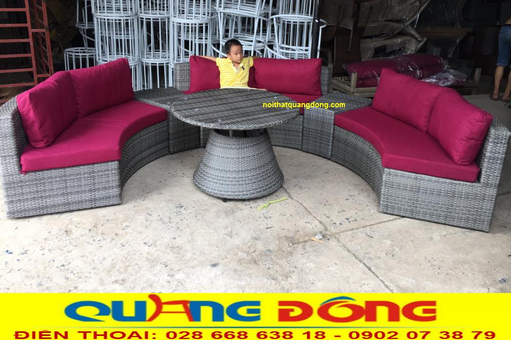 Bộ sofa mây nhựa QD-605 được ghi hình thực tế tại xưởng sản xuất công ty NỘI THẤT QUANG ĐÔNG