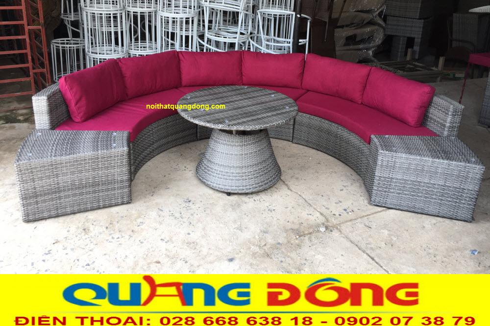 Bàn ghế ngoài trời sân vườn, mẫu sofa giả mây QD-605 ghi hình tại xưởng công ty Nội Thất Quang Đông