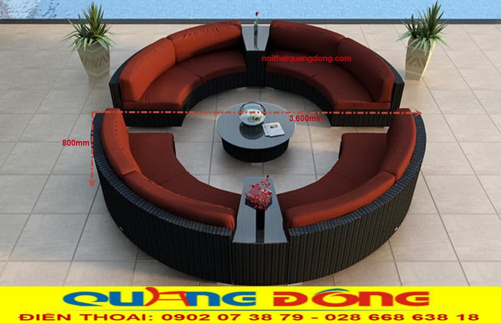 Mẫu sofa tháo giáp dạng tròn dùng cho những sảnh lớn, bộ sofa giả mây QD-622