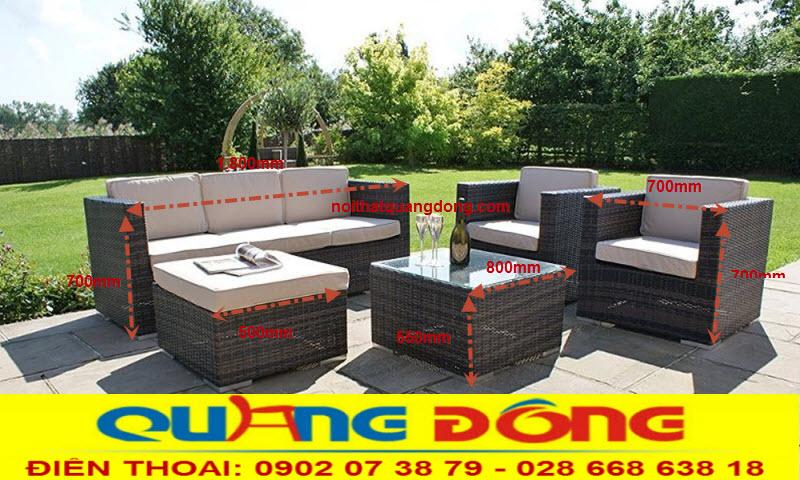 Sofa bộ mẫu sofa dùng cho sân vườn ngoài trời, ban công, bộ sofa giả mây QD-623