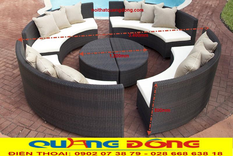 Bộ sofa ngoài trời giả mây QD-629 thiết kế dạng tròn điểm nhấn tuyệt đẹp cho khu vực ngoài trời , hồ bơi, bể bơi