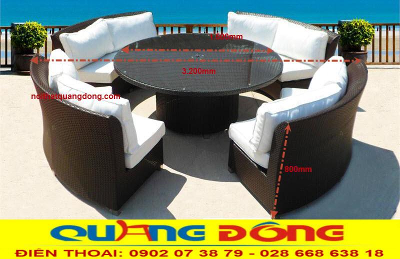 Mẫu sofa ngoài trời sân vườn dạng tròn, thiết kế tháo giáp tiện lợi, Bộ sofa giả mây QD-630