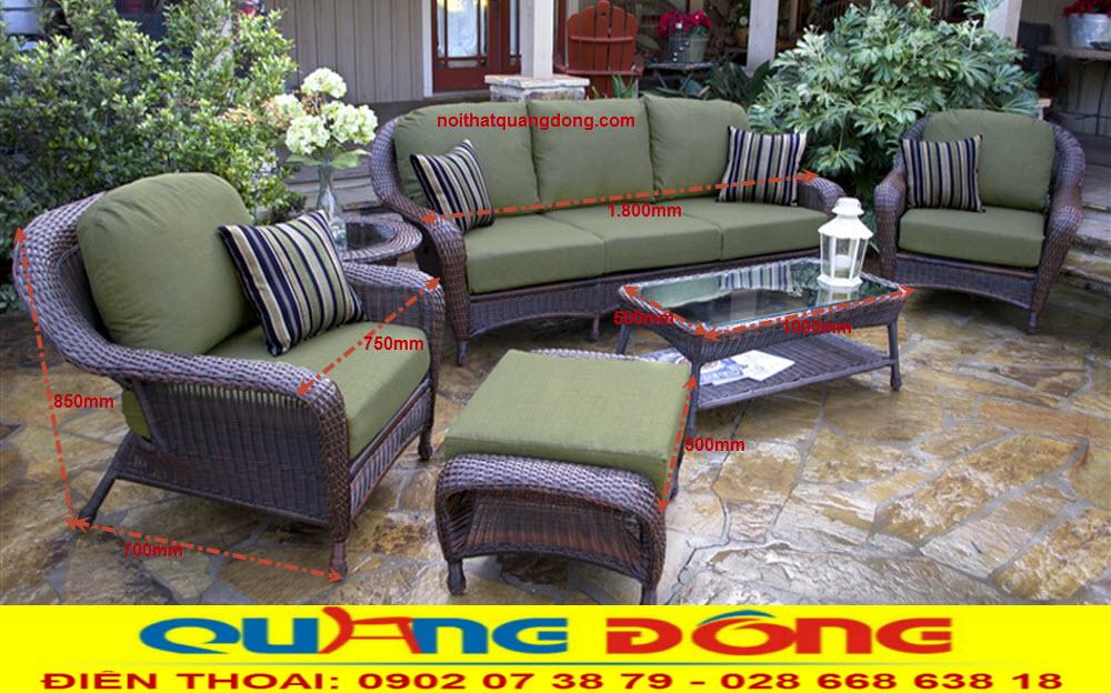 Mẫu sofa mây nhựa đẹp bộ sofa giả mây QD-635. Công ty sản xuất bàn ghế sofa dùng cho sân vườn ngoài trời