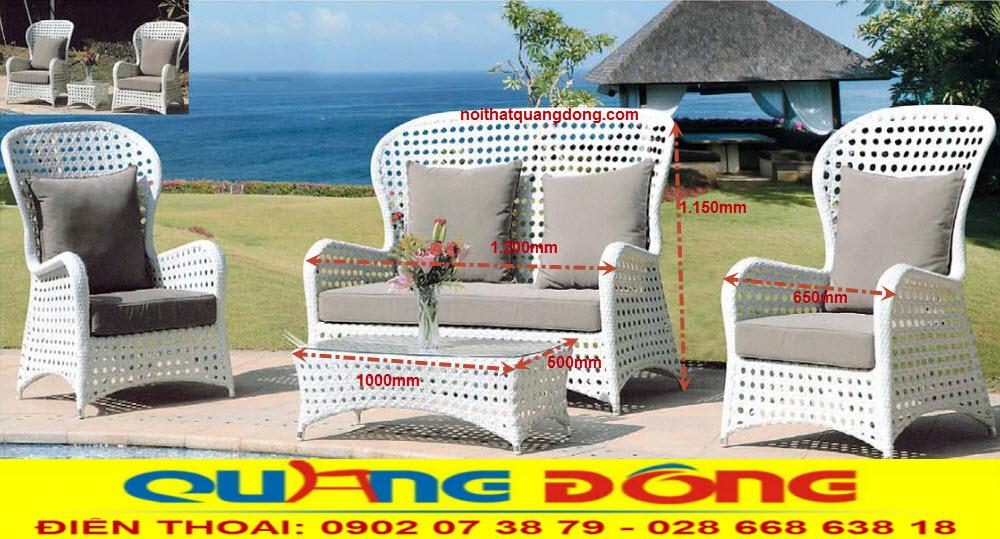 Mâu bàn ghế sofa salon dùng cho sân vườn ngoài trời, bộ sofa giả mây QD-636