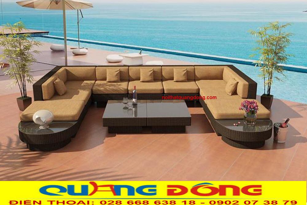 Bộ sofa ngoài trời thiết kế tháo giáp thông minh bạn có thể tùy ý lắp ghép tạo thành bộ sofa góc, hay chữ U, phù hợp cho mọi không gian