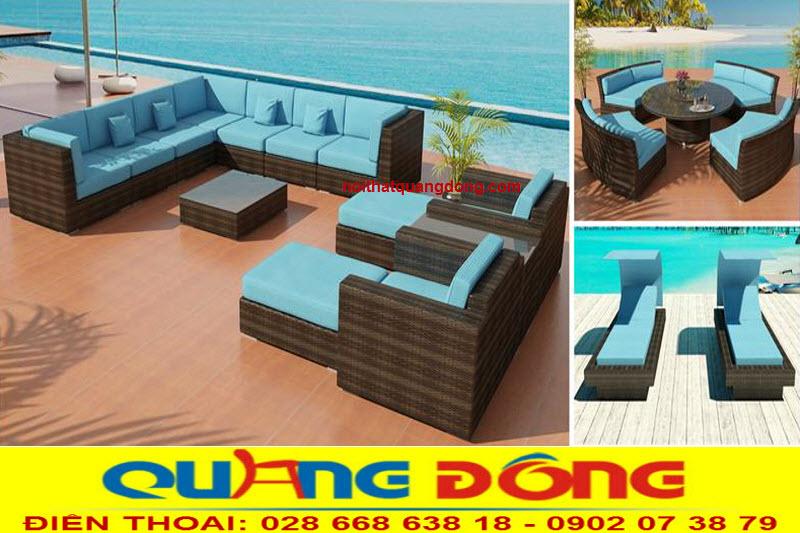 sofa giả mây QD-644, màu nâu nệm xanh hài hòa đẹp cho mọi góc nhìn