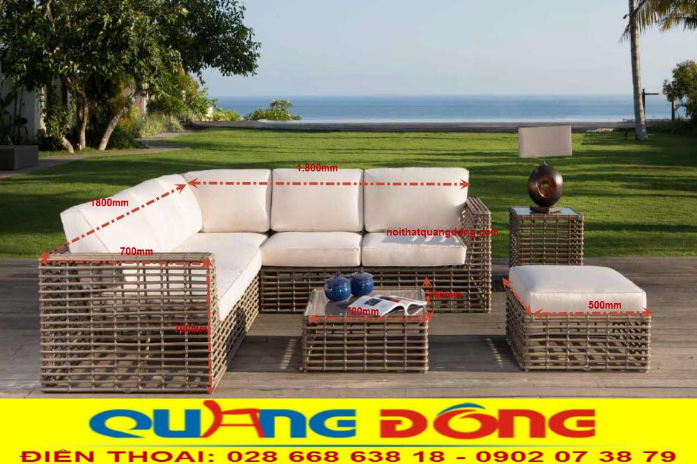 Mẫu sofa góc cho không gian sân vườn ngoài trời, Bộ sofa giả mây QD-649