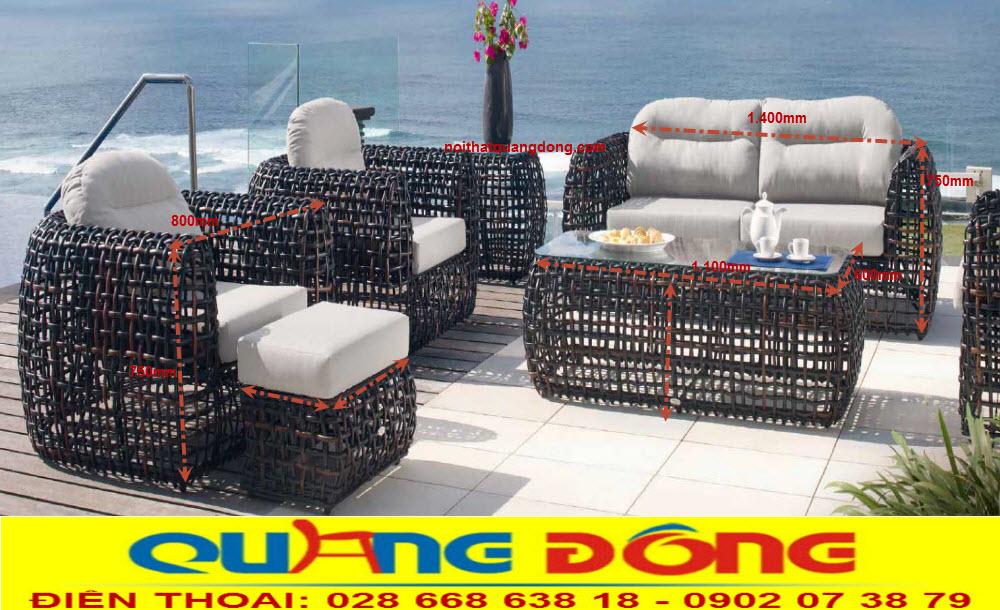 Mẫu sofa giả mây QD-650 tuyệt tác nghệ thuật, giúp làm đẹp trang trí cho ngoại thất sân vườn ngoài trời