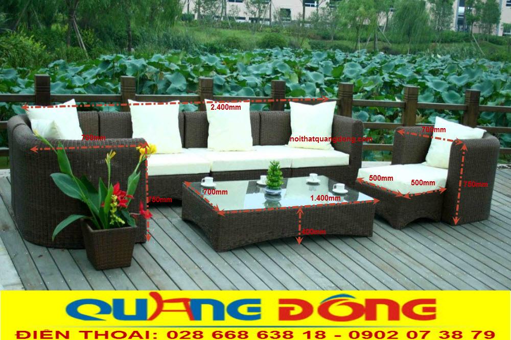 Sofa mây nhựa dùng được cho cả nội thất sân vườn ngoài trời, tính năng không thấm nước chịu mưa nắng độ bền cao bộ sofa giả mây QD-660 được người tiêu dùng tin tưởng sử dụng