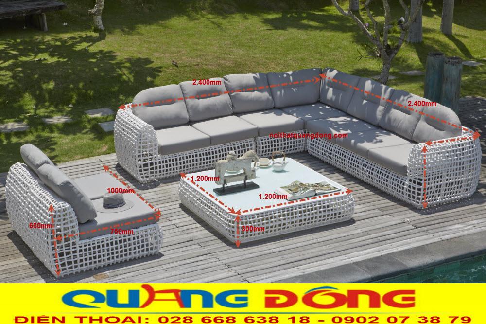 Bộ sofa dùng cho sân vườn ngoài trời bằng mây nhựa dạng góc với gam màu trắng đẹp, Bộ sofa giả mây QD-661