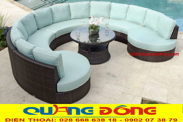 Mẫu sofa giả mây thiết kế kiểu dáng hiện đại dùng cho ngoại thất sân vườn
