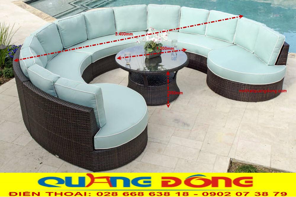 Quy cách chuẩn bộ sofa giả mây QD-668 dùng cho sân vườn