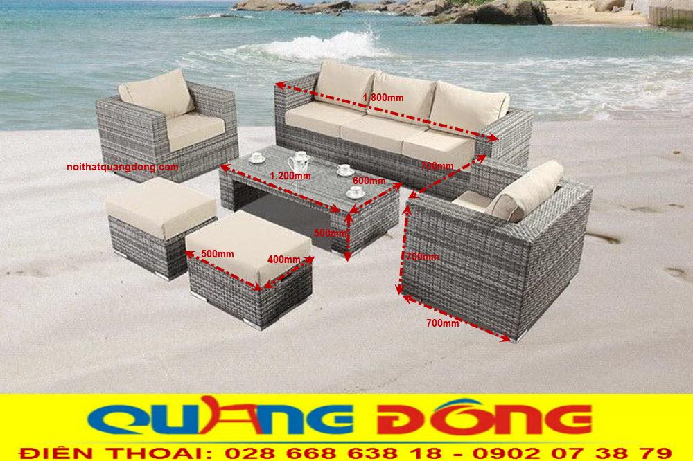 Quy cách tiêu chuẩn bộ sofa giả mây QD-669 dùng cho sân vườn