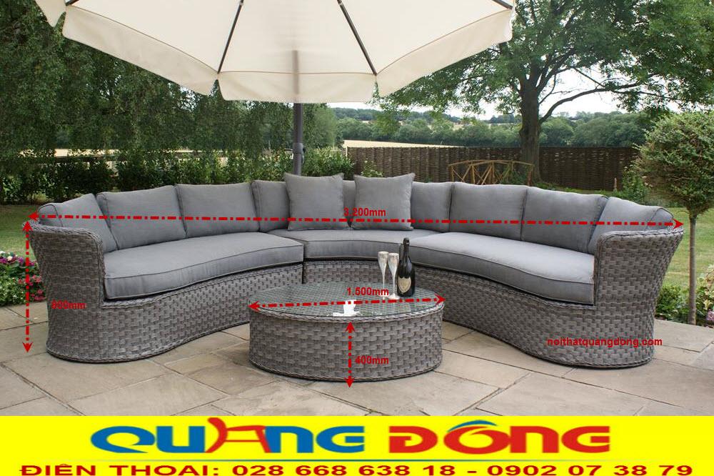Xem kích thước tiêu chuẩn của bộ sofa giả mây QD-643 dùng cho sân vườn