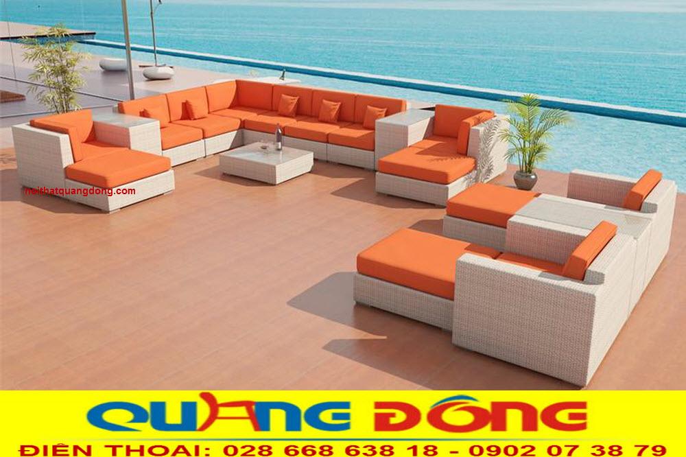 sofa giả mây QD-671 nệm màu cam tạo điểm nhấn đẹp mắt, nổi bật không gian ngoại thất