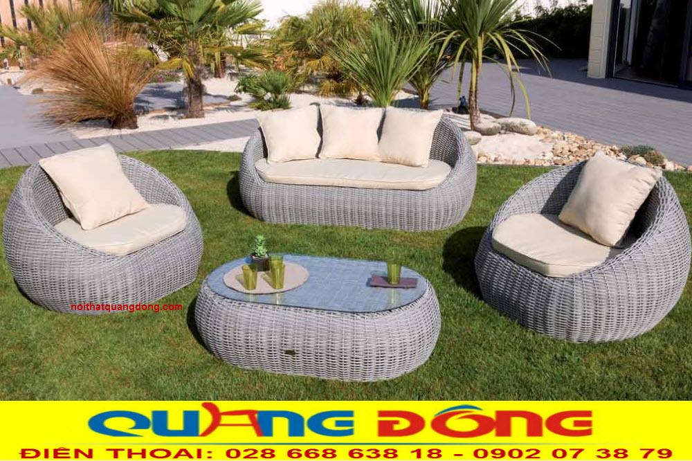 Bộ sofa giả mây QD-672 dùng cho sân vườn ngoài trời hình trứng đẹp độc lạ