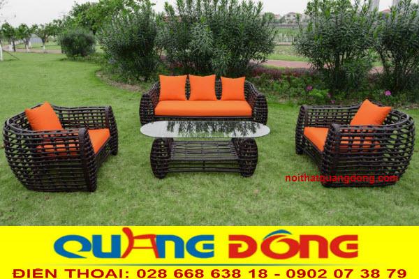 Mẫu sofa giả mây tre tự nhiên dùng cho sân vườn ngoài trời với khả năng chịu mưa nắng, Bộ sofa giả mây QD-674