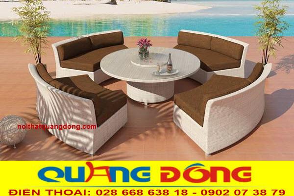 Bàn ghế dùng cho khu vực sân vườn ngoài trởi bằng mây nhựa, Bộ sofa giả mây QD-676 đẹp cho không gian ngoại thất