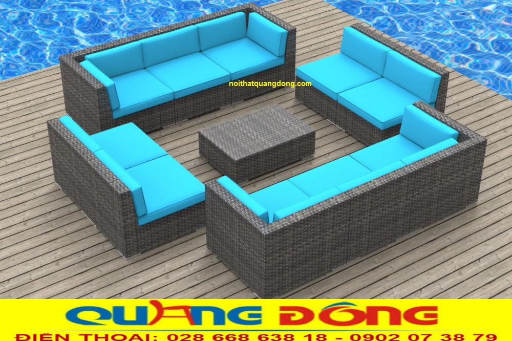 Mẫu sofa ngoài trời giả mây tuyệt đẹp chuyên dụng cho ngoại thất sân vườn, khu vực hồ bơi bể bơi