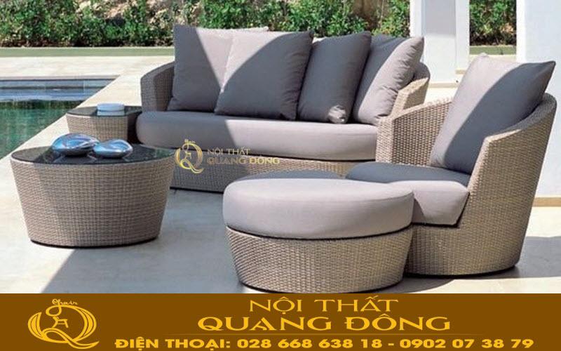 Mẫu ghế sofa dùng cho ngoại thất sân vườn bể bơi, bộ sofa giả mây QD-615 điểm nhấn nổi bật cho ngoại thất sân vườn