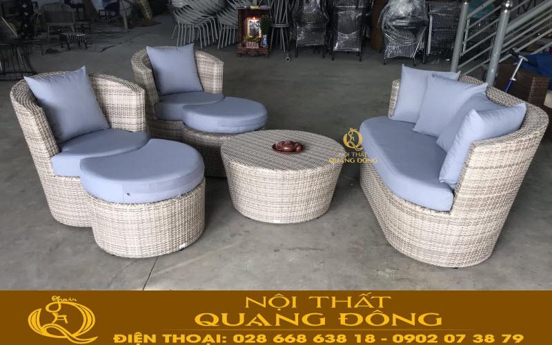 Mẫu sofa giả mây QD-615 mà Nội Thất Quang Đông sản xuất theo yêu cầu của khách hàng