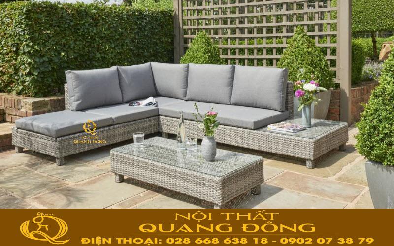 Mẫu sofa góc bằng nhựa giả mây giải pháp tối ưu cho góc sân vườn, khu vực ngoài trời bể bơi, bãi biển