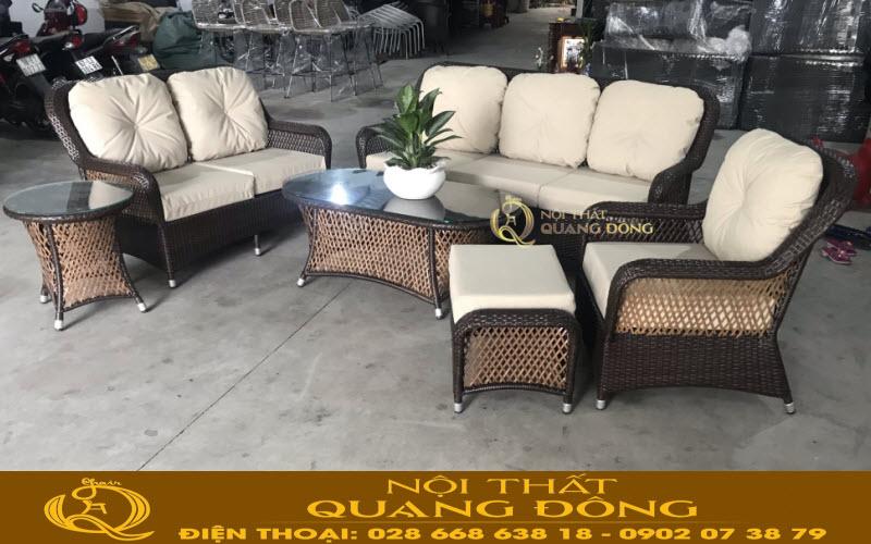 Xưởng sản xuất bàn ghế sofa giả mây đan sợi mây nhựa chuyên dùng cho sân vườn ngoài trời