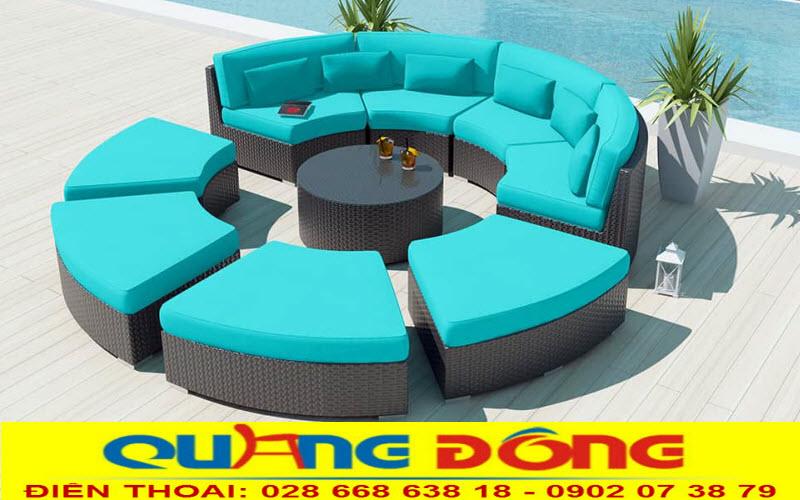 Bộ sofa ngoài trời tuyệt đẹp cho khu vực bể bơi bằng nhựa giả mây cao cấp
