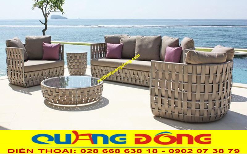 Sofa giả mây tre thiết kế mới lạ , sợi dây bản lớn cao cấp