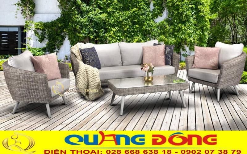 Mẫu bàn ghế sofa ngoài trời đan thủ công bằng sợi nhựa giả mây cao cấp chịu mưa nắng