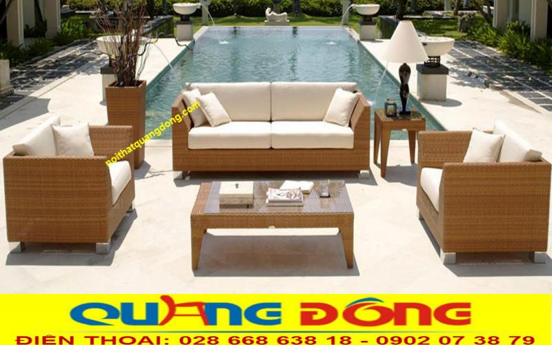 Mẫu sofa giả mây đan sợi mây nhựa cao cấp có hoạt chất kháng UV tia cực tím chịu mưa nắng, sản phẩm tuyệt vời cho hồ bơi, ngoại thất