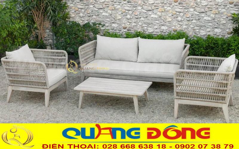 Bàn ghế sofa đan mây nhựa chuyên dùng cho ngoại thất sân vườn