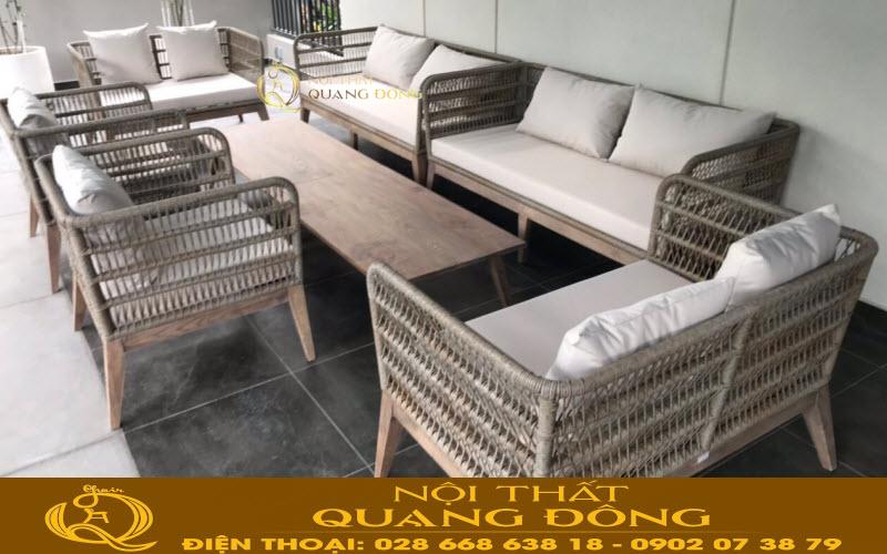 Bộ sofa mây nhựa QD-682 Nội Thất Quang Đông cung cấp tại công trình quận 2 TP.HCM