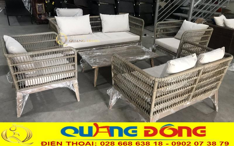 Mẫu Sofa mây nhựa QD-682 tại xưởng Nội Thất Quang Đông trước khi bàn giao cho khách hàng