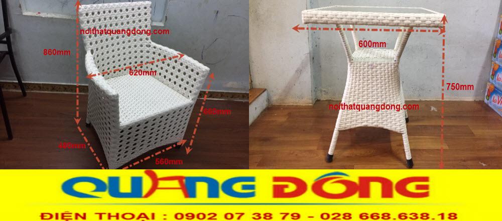 Quy cách bộ bàn ghế giả mây QD-333 đúng chuẩn của nhà sản xuất Nội Thất Quang Đông