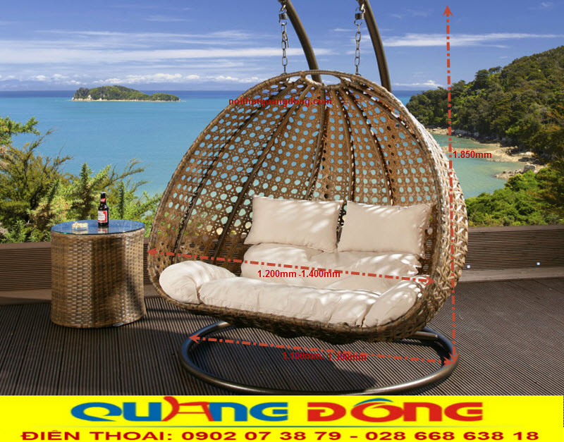 Xích đu đôi sản phẩm dùng cho 2 người ngồi, thiết kế rộng tạo cảm giác thoải mái cho người sử dụng, mẫu xích đu mây nhựa QD-422