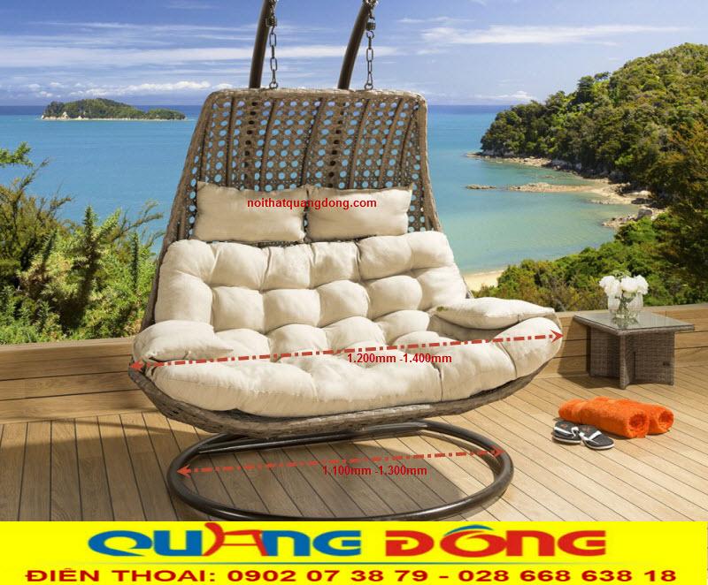Xích đu mây nhựa QD-423 là mẫu thiết kế dùng cho 2 chỗ ngồi, vững chắc với khung bằng thép sơn tĩnh điện đan sợi nhựa giả mây cao cấp