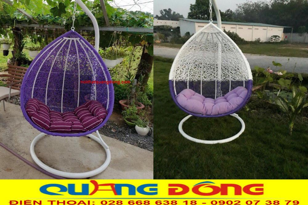 Xích đu trang trí cho sân vườn bằng nhựa giả mây, Mẫu xích đu QD-425 màu tím trắng đẹp sang trọng